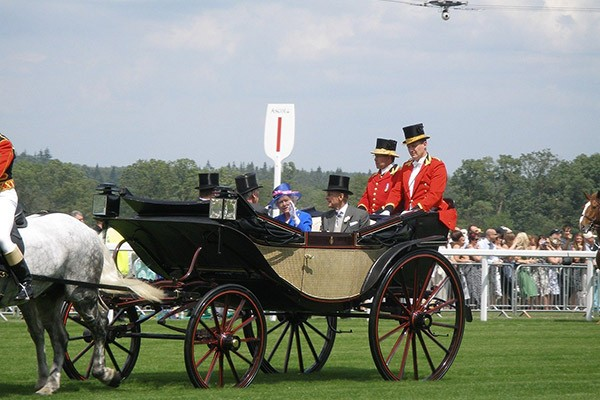 Queen in carriage at Ascot races Berkshire