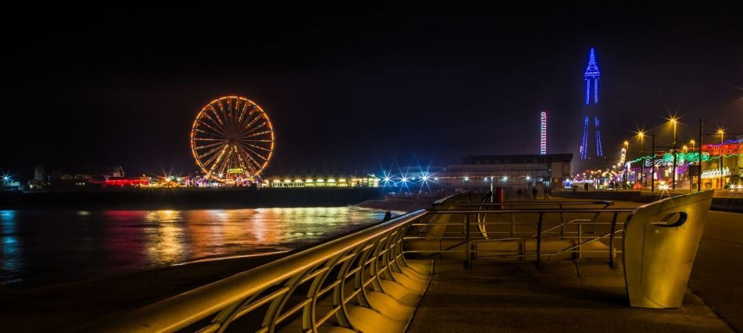 Blackpool seafront at night