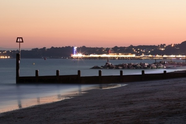 Bournemouth beach front at sunset