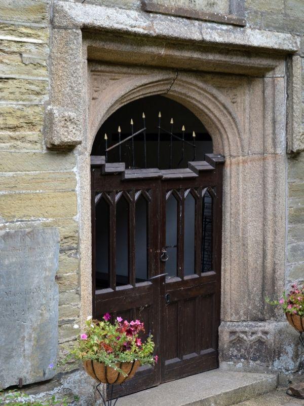 Kingsbridge church door with flowers