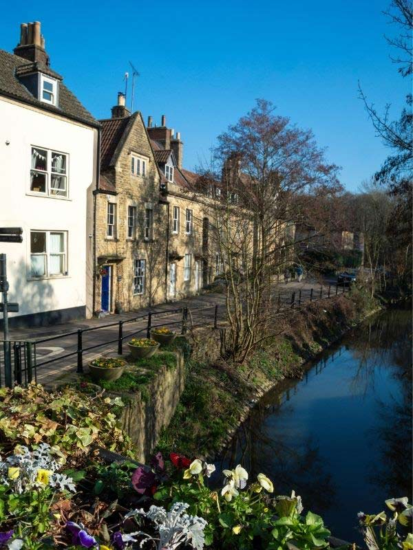 View of market place from bridge in Frome