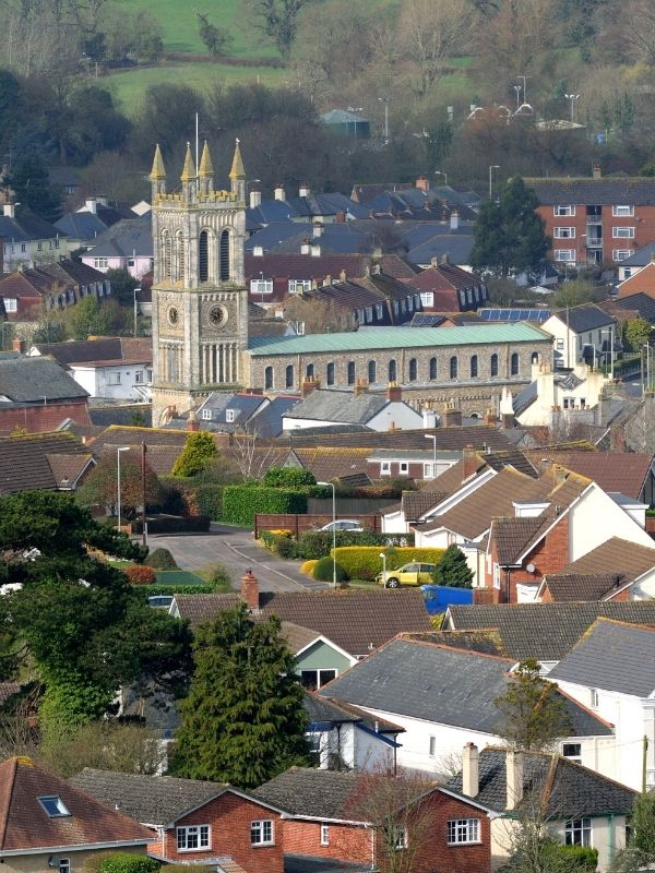 View across the town of Honiton