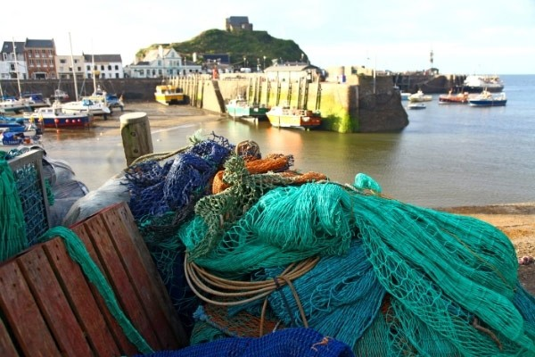 Ilfracombe harbour with fishing nets