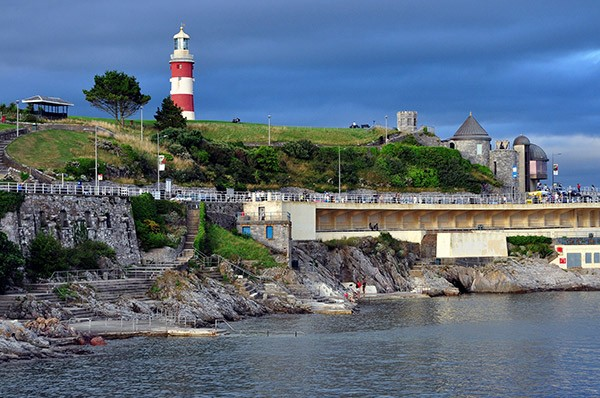 View of Smeaton's Tower in Plymouth on Plymouth Hoe from the sea