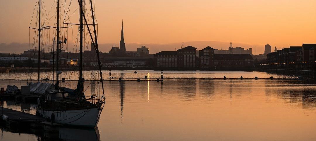 Sunrise over Preston docks