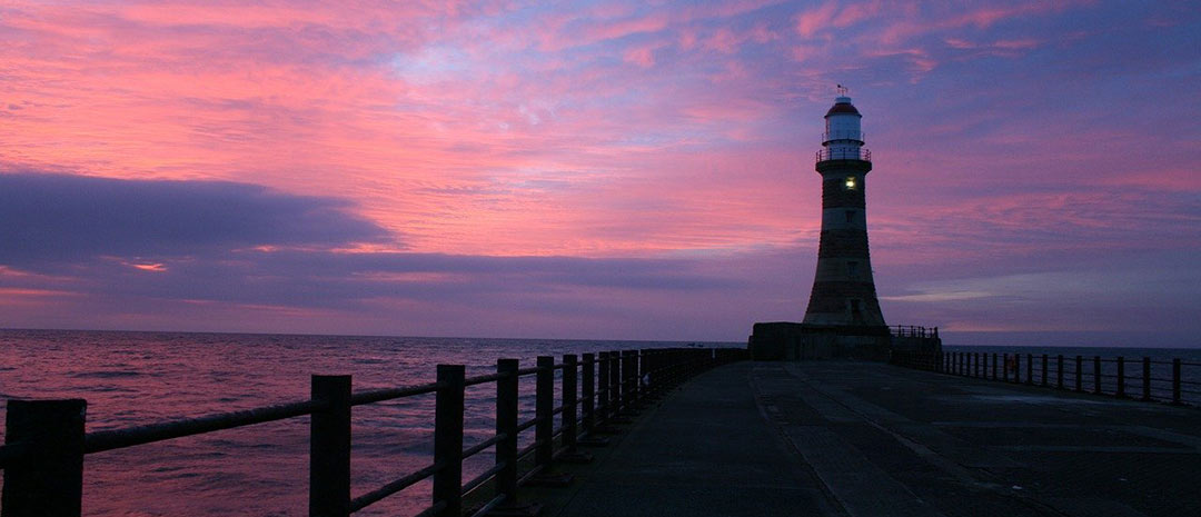 Roker Pier and Lighthouse Sunderland at sunset