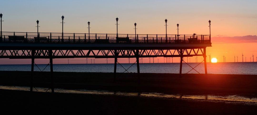 Skegness pier at sunrise