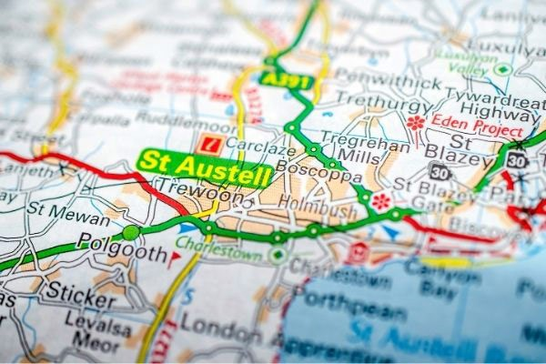 Close up map of St Austell