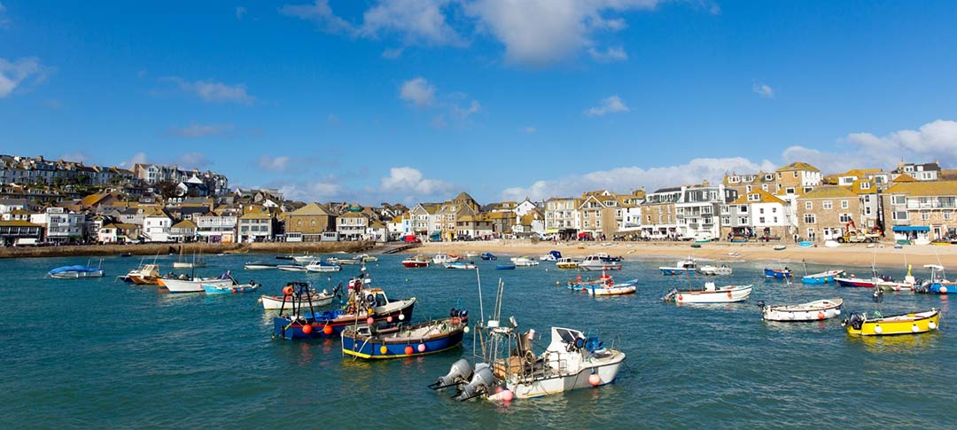 View from harbour to St Ives in Cornwall