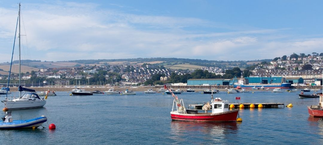 Teignmouth from the river Teign