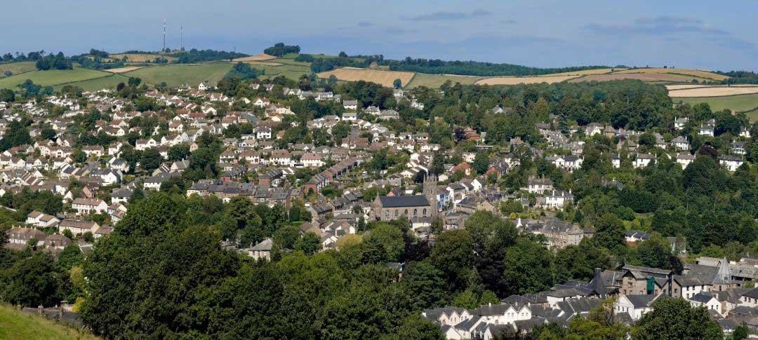 Arial view of Totnes in Devon