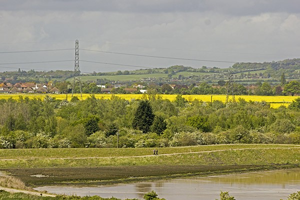 View across Essex countryside with lake in foreground