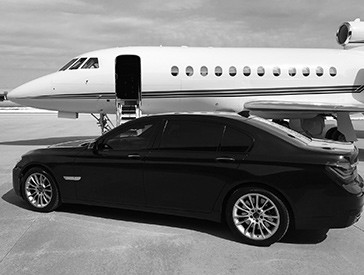 Private jet and chauffeured car