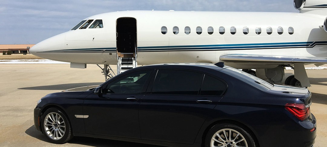 Private jet with executive car