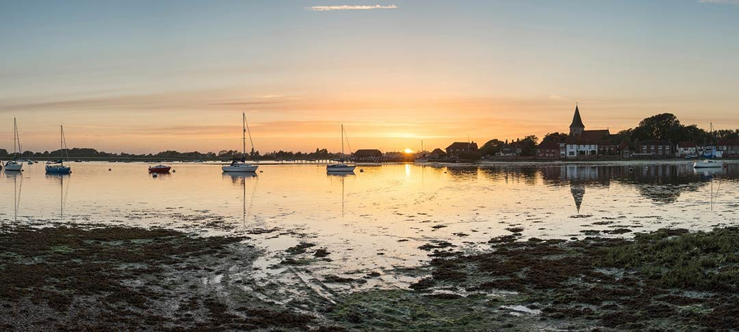 view at sunset of Chichester harbour