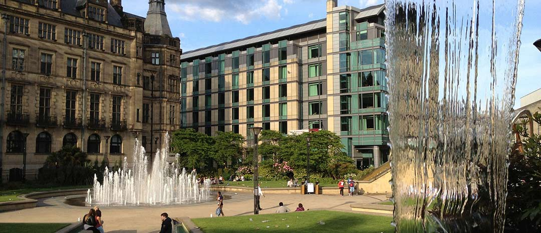 Sheffield city centre with fountains