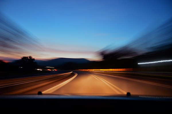 Taxi driving on motorway at night