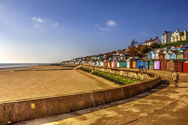 Essex beachfront with beach huts