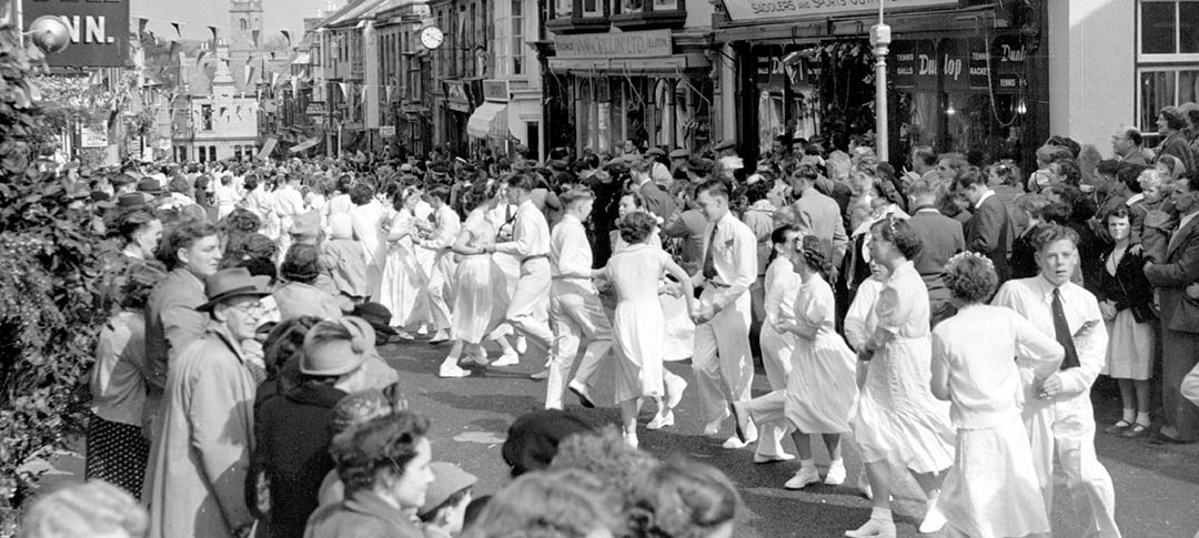 Black and white picture of Helston Floral Dance