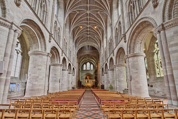 Interior of St Albans Cathedral in Hertforshire