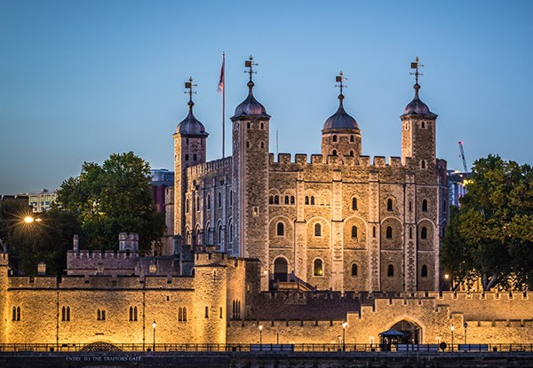 The Tower of London at night in Middlesex
