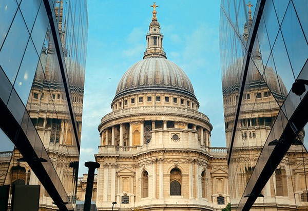 St Paul's Cathedral London reflected on building Middlesex