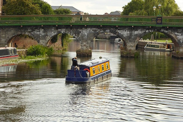 Canal boat on River Trent in Nottinghamshire