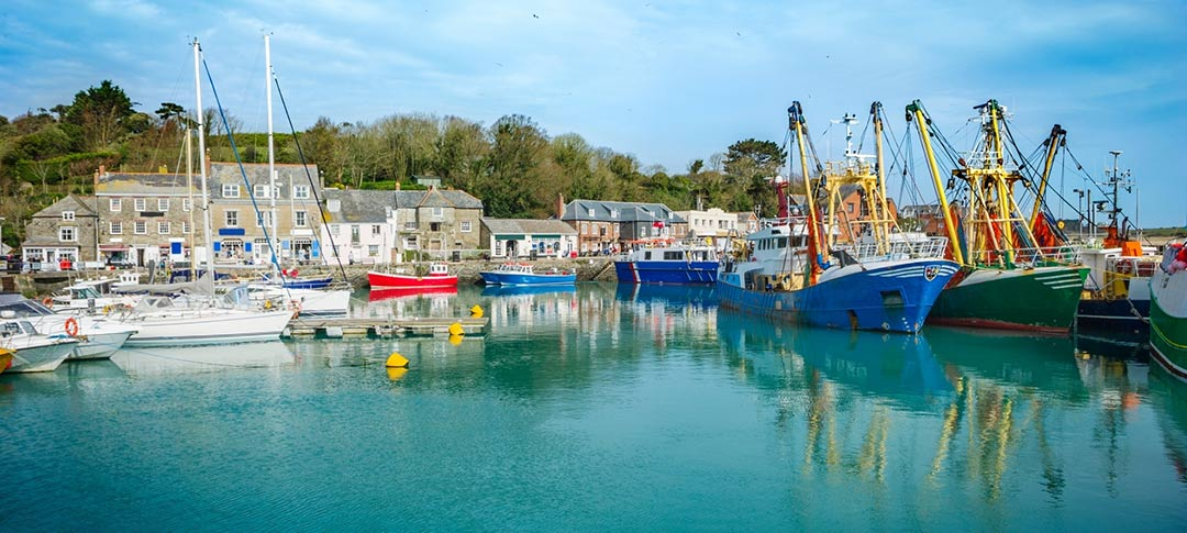 Padstow Harbour with fishing boats