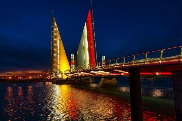 Poole bridge at night