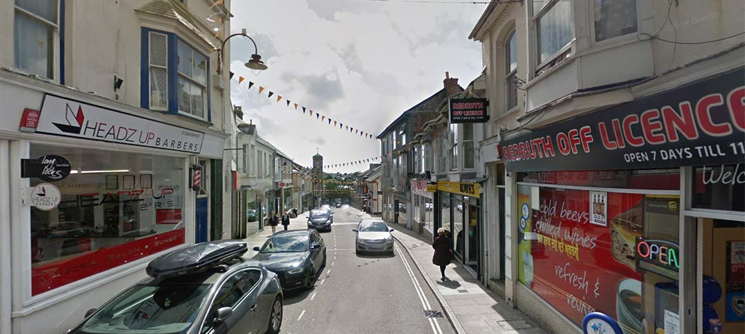 Redruth town centre in Cornwall