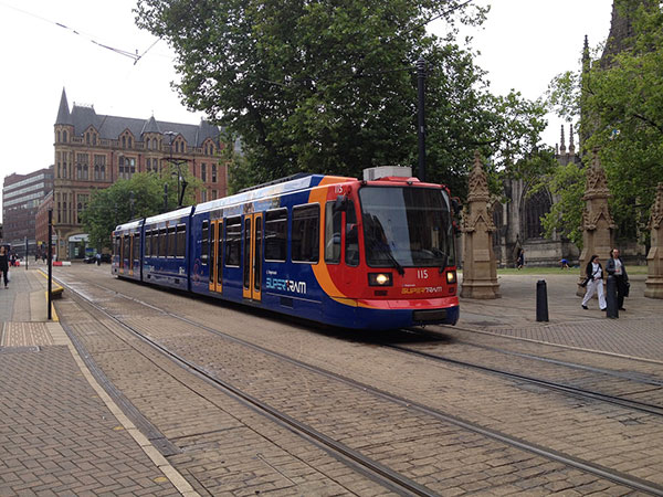 Sheffield Tram in the city centre