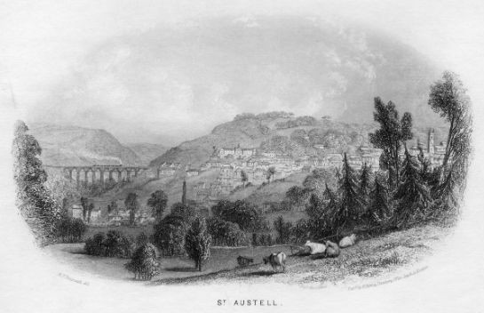 Old black and white print of St Austell
